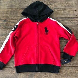 NWT Polo Ralph Lauren Boys 7 Red Full Zip Up Hoodie Sweatshirt Jacket Big Pony